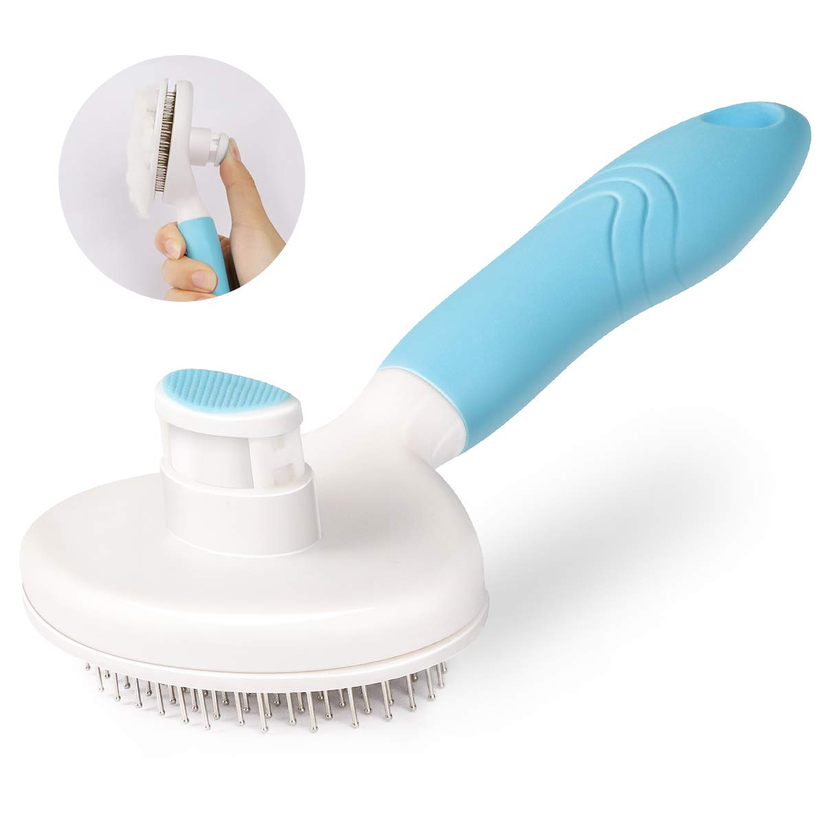 MENNYO Dog Brush, Cat Brush, Self Cleaning Slicker Brush for Shedding, Professional Pet Grooming Comb - Removes 95% of Dead Hairs and Knots, Eliminates Tangles Furminator for Long/Short Hair