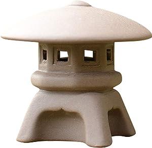 Kelendle Ceramic Miniature Pagoda Lantern for Garden Patio Bonsai Decoration Miniature Accessories Furniture for Home Decor Asian Zen Art Oriental Statue Beige Round