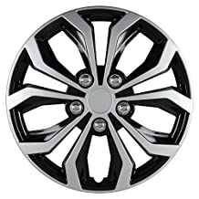 "Pilot Automotive WH553-16S-BS Spyder 16"" Performance Wheel Cover, Two Tone Black/Silver Finish, (Pack of 4)"