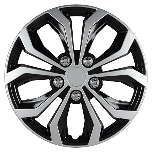 (Pilot Automotive WH553-16S-BS Universal Fit Spyder Wheel Cover [Set of 4] - 16 in. ABS Hub Cap with 10 Spokes, Black/Silver Finish. Car Accessories )