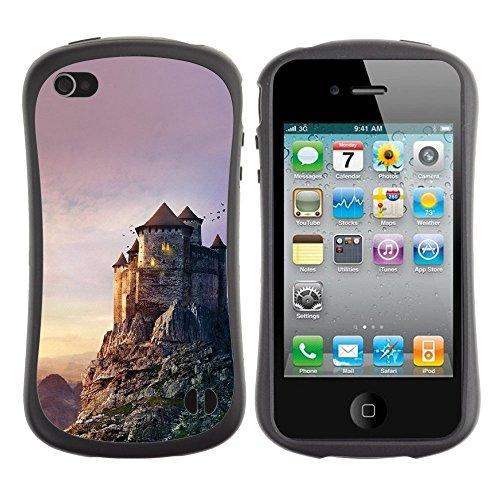 Apple Iphone 4 / 4S [Castle Mountain Illustration Art Sky]