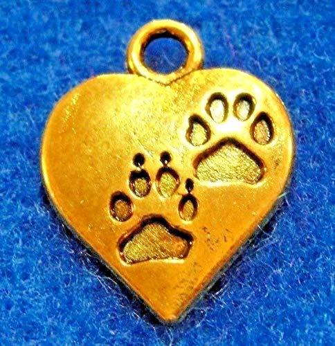 (50Pcs. Wholesale Tibetan Antique Gold Heart w/PAW Print Charms Pendants Q0037 )