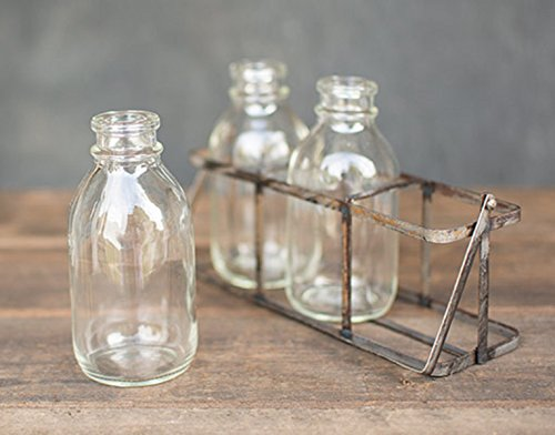 GyPsy BaRn ChiX Vintage Styled Milk Bottle Farmhouse Decor - 3 Milk Bottles in a Vintage Decor Metal Carrier Handle - Wedding Decor - Farmhouse Decor Accents for your Home - 3 mini milk bottles in a metal carrier 3 Decorative Milk Bottles are made from glass and have a 6 ounce capacity Metal basket in a vintage is design is 7 x 5 x 2.25 inches (LWH), and has a convenient handle - living-room-decor, living-room, home-decor - 51Jn9smhcNL -