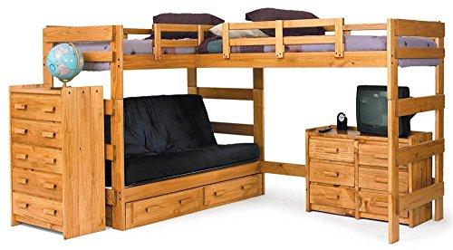 wood bunk bed with futon - 6