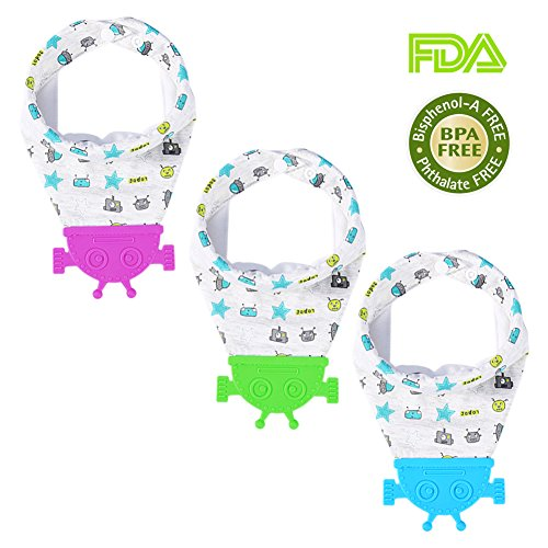 Price comparison product image [3-Pack] Baby Bandana Drool Bibs,  Baby Bib with Teether for Drooling and Teething,  100% Organic Cotton Soft and Absorbent,  BPA Free Food Grade Silicone Teether,  Adjustable Snaps- for Boys and Girls