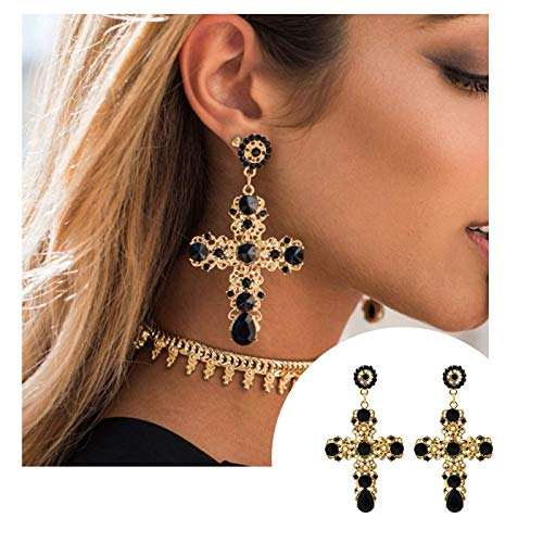 Shiny Earrings Celtic - Lesset Gold with Black Stone Cross Fashion Trend Earrings Vintage Baroque Bohemian Dangle Drop Post Earring Jewelry