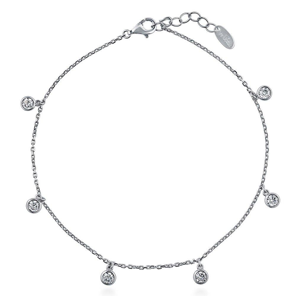 Chaîne de cheville Berricle en argent plaqué rhodiumavec zircons ronds transparentes 22,9cm + extension de 5,1cm 9cm + extension de 5 1cm a077-01