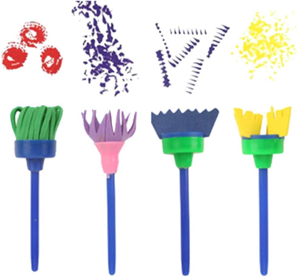MYA 29 Pcs /Éponge Brosses de Peinture Enfant Ensemble Pinceaux de Peinture Enfant Dessin Art DIY Outils /Éponge de Dessin Peinture Brosse avec Palette Rouleaux de Peinture
