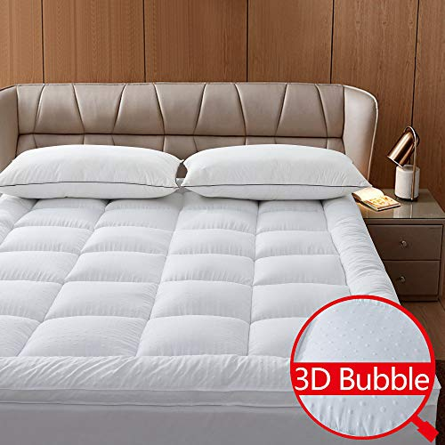 Naluka Mattress Topper Queen Featherbed 3D Bubble Microfiber Mattress Pad with Deep Pocket – Extra Thick 2