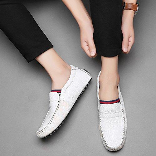 Zapatos Cuero Ocasionales Mocasines de los de Hombres genuinos Blancos Blanco rx7Fq5vr