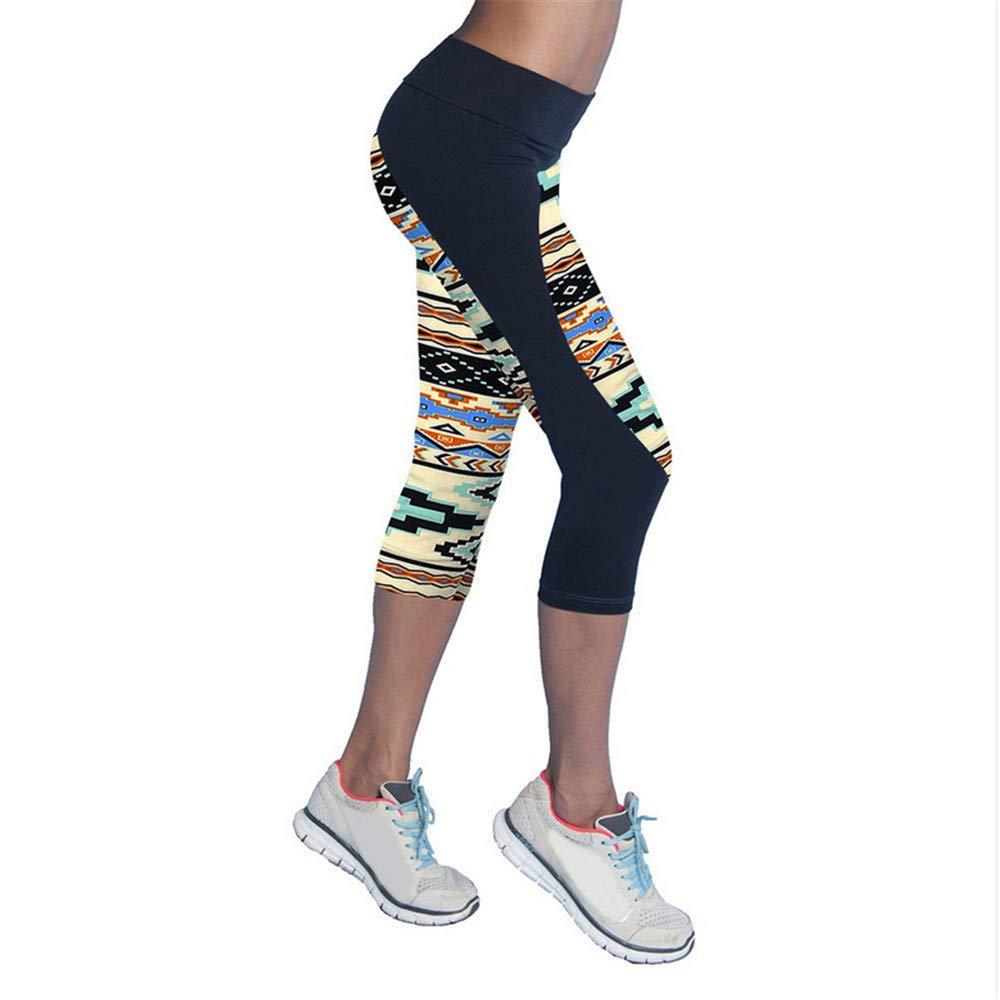 Shuangklei Schnell Trocknende Hose Elastische Capris Yoga Sporthose Gedruckt Stretch Fitness Schlank Laufbekleidung Abgeschnitten Leggings