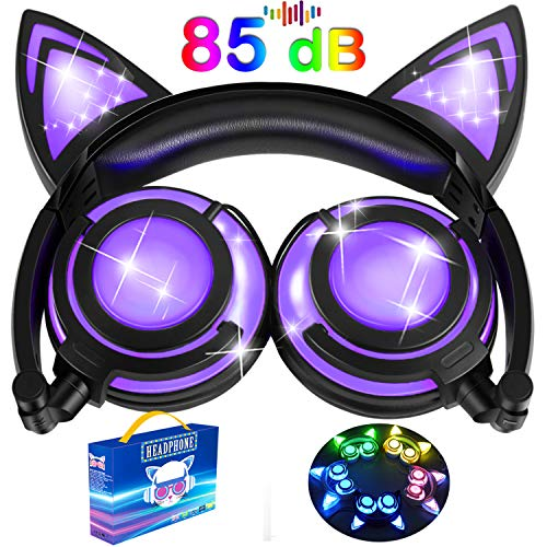 Kids Headphones Glow in The Dark, Cat Ear Headphones with LED 85dB Microphone, Over/On Cat Earphones for Toddlers Girls Boys Earpiece Rechargeable Foldable Headsets, School Supplies (Purple)