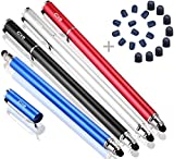 Bargains Depot Capacitive Stylus/Styli 2-in-1 Universal Stylus Pens for All Touch Screen Tablets/Cell Phones with 20 Extra Replaceable Soft Rubber Tips (4 pieces, Black/Red/Silver/Blue)