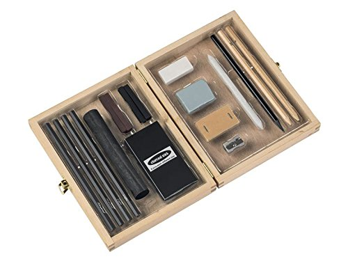 Charcoal Set 26 piece For flat & high - contrast drawing writing & sketching birchwood box. Art Set OWIM GMBH & Co.KG