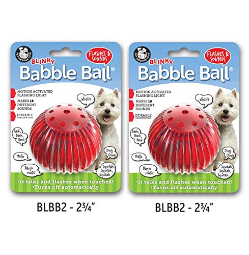 Blinky Ball Interactive Dog Toy, Flashes & Talks When Touched! - by PetQwerks (Medium 2 Pack) -