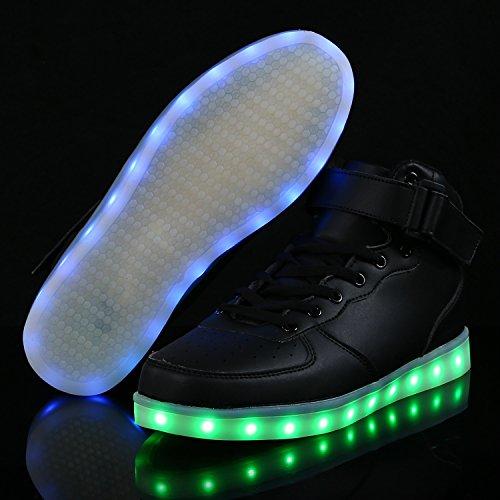 Led-schoenen Met Lichtjes Hoge Top Dance Light-up Sneakers Alle Kleuren Antislip-loopschoenen Voor Volwassenen Dames Zwart