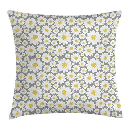 Ambesonne Floral Throw Pillow Cushion Cover by, Cartoon like Flowers Daisies Spring Time Season Pollens Artwork Print, Decorative Square Accent Pillow Case, 20 X 20 Inches, Light Grey Yellow White