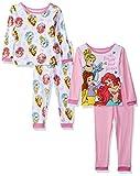 Disney Baby Girls Multi-Princess 4-Piece Cotton Pajama Set, Dream White, 18M