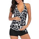 Huaze Maternity Women Plus Size Print Swimsuit Outdoor Comfortable Deep V Neck Beachwear Padded Swimwear (S-5XL) (Black, S)