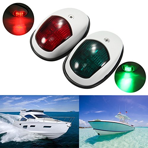 Starboard Lamp (Boat Navigation Lights , YESSHOW New Marine LED Navigation Lamp Port Bow Side & Starboard Lights [ Red & Green LED ] for Chandlery Boat Yacht Skeeter Safety Lights Deck Mount DC12V-24V [ White Shell ])