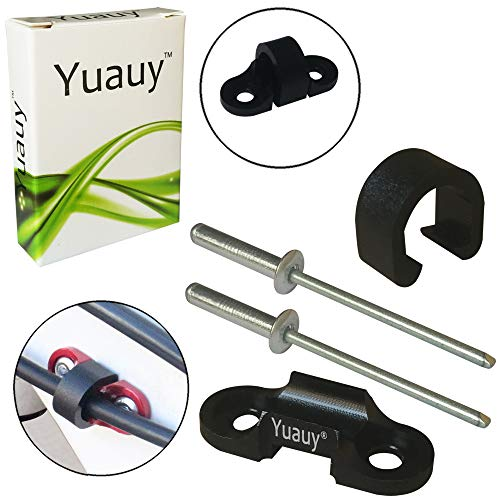 Yuauy MTB Bike Cable Guide 2 Rivets Brake Cable Shift Cable Derailleur Cable Base Guide Clip Fitting Line Tube Housing Durable Alloy ()