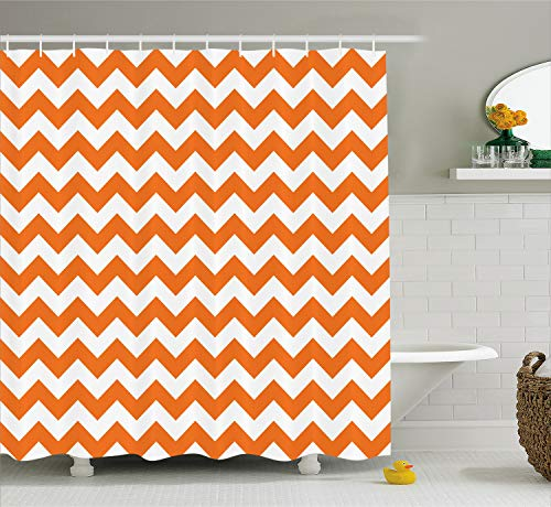Ambesonne Chevron Shower Curtain, Halloween Pumpkin Color Chevron Traditional Holidays Autumn Season Celebrate, Cloth Fabric Bathroom Decor Set with Hooks, 75