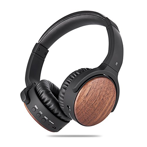 Active Noise Cancelling Bluetooth Headphones, ANCDEEP ANCRETRO Wood HiFi Stereo Deep Bass On Ear Wireless Headphones with Built-in Microphone for iPhone/Android/PC/TV (Walnut Wood)