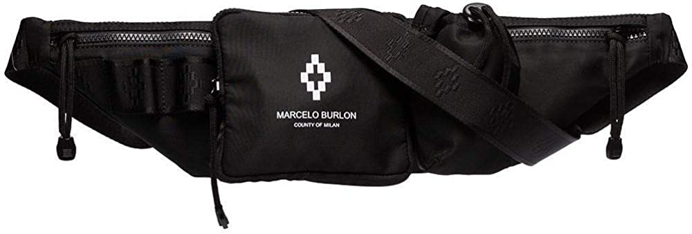 Amazon Com Marcelo Burlon Bolso Bandolera Para Hombre Color Negro Shoes