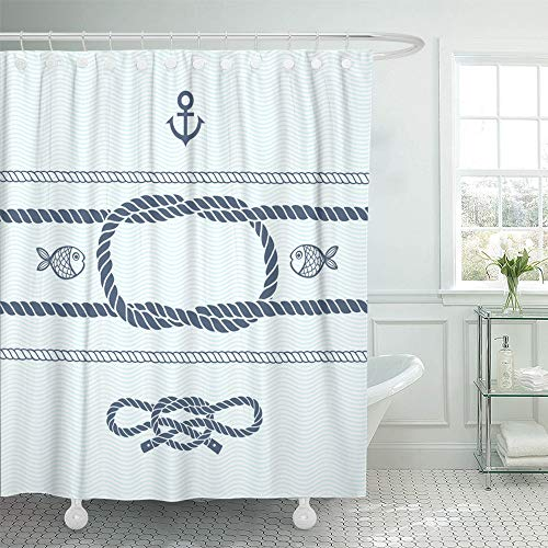 Emvency Shower Curtain Waterproof Adjustable Polyester Fabric Blue Geo Nautical with Anchor Marine Knots Ropes and Fish Navy Geometric Maritime 60 x 72 Inches Set with Hooks for Bathroom