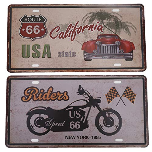 HANTAJANSS CA State Route 66 Riders Plate Metal Sign 2 Pack, Retro Vintage Tin Signs for Car Plate Cover, Pub, Beach, Bar, Store, Home Decoration