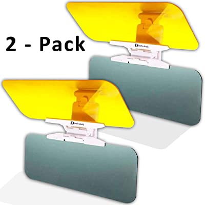 Zento Deals 2 Pack Transparent Windshield Car Sun Visor Day and Night Vision Anti-Glare: Automotive