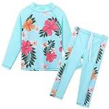 Girls Two Piece Swimsuit Floral UPF 50+ Rash Guard Set Kids Swimwear S247_CyanFlower_10A