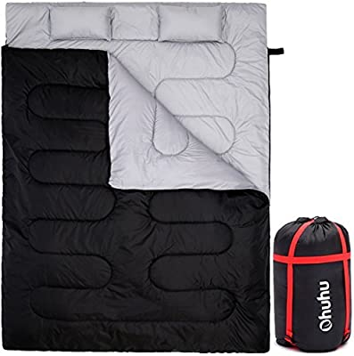 Ohuhu Double Sleeping Bag With 2 Pillows And A Carrying Bag, Waterproof Lightweight 2 Person Sleeping Adult Bag For Camping, Backpacking, Hiking by Ohuhu