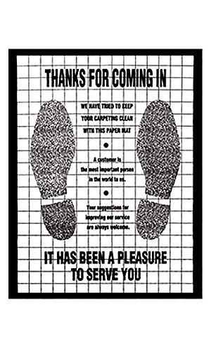 Polyethylene Floor Mat - Shoe Print - Black - Case of -