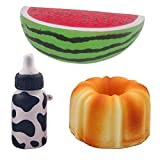 3Pcs Jumbo Slow Rising Squishy Watermelon Fruit German Style Pound Cake Feeding Bottle Scented Bread Toys For Kids and Adults