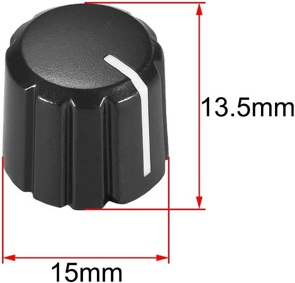 uxcell 5pcs Potentiometer Control Knobs For Electric Guitar Acrylic Volume Tone Knobs Black D type 6mm