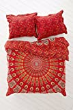 Vedant Designs Indian Peacock Mandala Queen Size Comforter Hippie Boho Cotton Doona Duvet Cover Comforter Mandala Hippie Bohemian Quilt Cover Set By