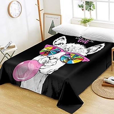 Sleepwish Llama Flat Sheet for Kids Teens Girls Microfiber 1800 Bedding Top Sheet Cute Alpaca Rainbow Glasses Pink Bubble 3D Design Ultra Soft Wrinkle Free All Seasons(Twin): Home & Kitchen