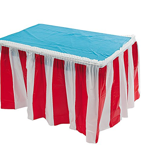 Fun Express Striped Table Skirt, Red/White, 14 Feet x 29 Inches]()