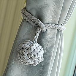 2 Pieces Fine Hand Tied Curtain Clip, Buckle Holdback Fabric Drapery Tassels Curtain Tiebacks / Tassel Window Cotton Rope Tie Ball Back Accessories (Gray)