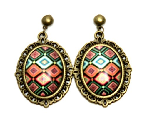 Majestic Nickel Pendant - Trendy Fashion Cameo Hollow Lacework Cabochon Earrings for Women/AZEACS601 (A.Bronze, Multi)