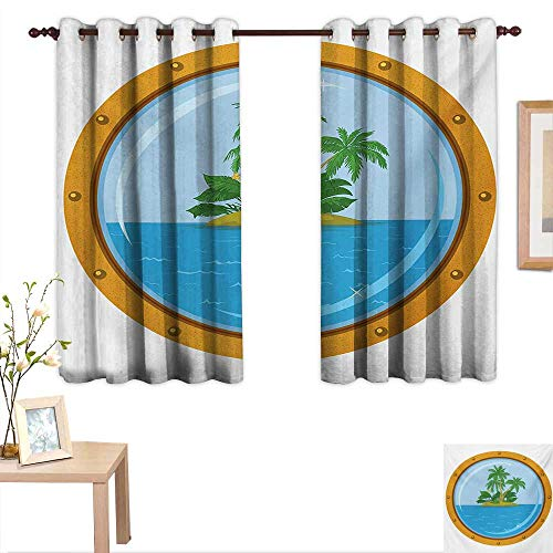 (Island Decor Curtains by Graphic of Tropic Island View from The Bronze Ship Window with Palm Trees 55