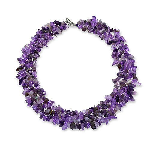 Bling Jewelry Purple Amethyst Gemstone Chunky Chips Cluster Bib Multi Strand Statement Necklace for Women Silver Plated