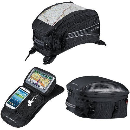 Nelson-Rigg CL-2015-ST Black Strap Mount Journey Sport Tank Bag,  CL-GPS-MG Black Magnetic Mount Journey GPS Mate,  and  CL-1060-ST Black Sport Touring Tail/Seat Pack Bundle