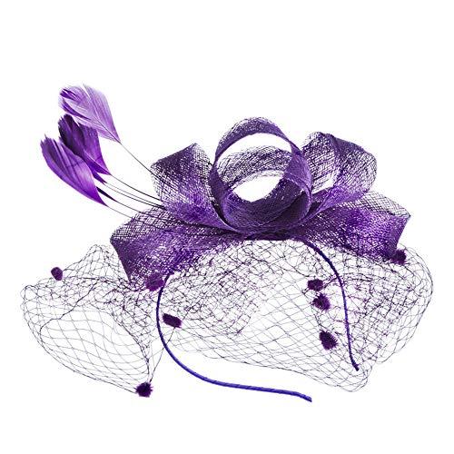 Lecimo Bow Handmade Feather Tiara Retro Banquet Hemp hat Linen Lady hat (Purple)