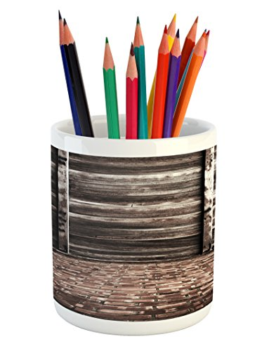Rustic Pencil Pen Holder by Ambesonne, Aged Cracked Striped Oak Boarded Plank Wall Background and Dated Brick Floor Picture, Printed Ceramic Pencil Pen Holder for Desk Office Accessory, Brown (Designs Floor Brick For Patio)