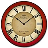 Galway Red Wall Clock, Available in 8 Sizes, Most Sizes Ship The Next Business Day, Whisper Quiet.