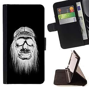 Jordan Colourful Shop - black white hippie skull death For Apple Iphone 6 PLUS 5.5 - < Leather Case Absorci????n cubierta de la caja de alto impacto > -