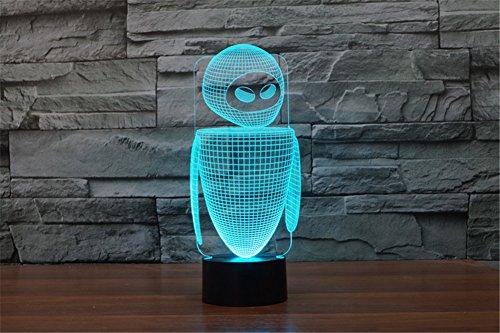 LOTOS® Abstractive 3D optische Täuschung netter Roboter Bunte Lichteffekt Touch Schalter Stromversorgung über USB LED Dekoration Nachtlicht Schreibtischlampe