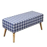 Otto & Ben 37″ Storage Bench – Mid Century Ottoman with Easy Lift Top, Upholstered Shoe Ottomans Seats for Entryway and Bedroom, Octagon Blue